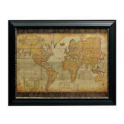 Antique Old World Map Framed Art Print