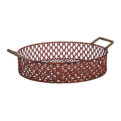 Red Metal Lattice Tray