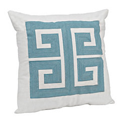 Aqua Embroidered Greek Key Pillow