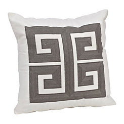 Gray Embroidered Greek Key Pillow