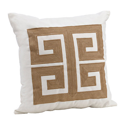 Taupe Embroidered Greek Key Pillow