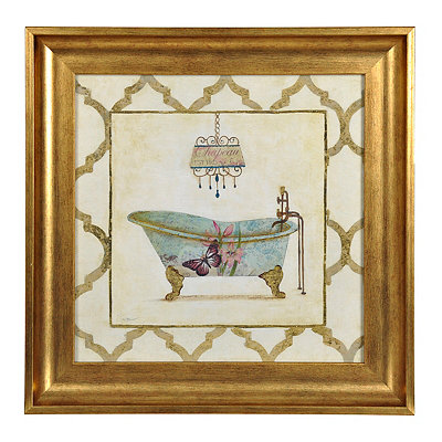 Butterfly Botanical Bath Framed Art Print