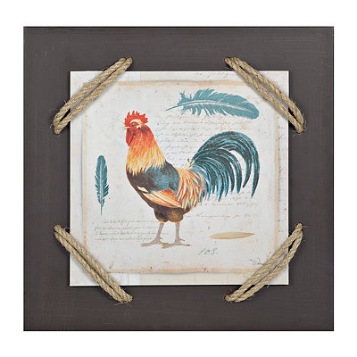French Rooster II Wrapped Rope Wall Plaque