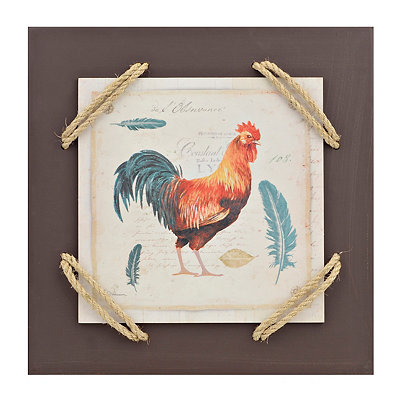 French Rooster I Wrapped Rope Wall Plaque