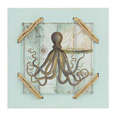 Antique Le Mer Octopus Wooden Plaque