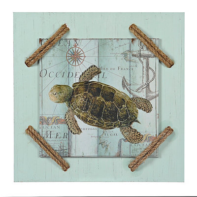 Antique Le Mer Turtle Wooden Plaque