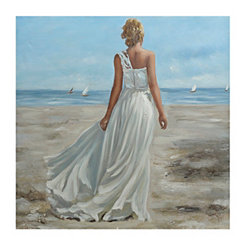 Woman on the Beach Canvas Art Print