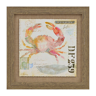 Coastal Postage Crab Framed Art Print
