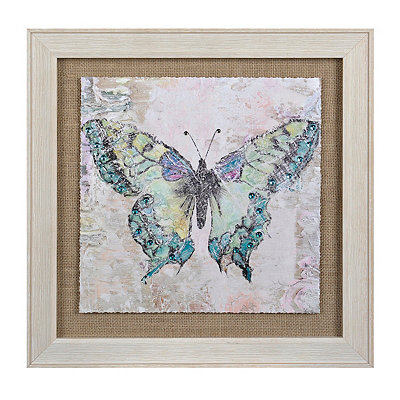 Green Burlap Butterfly Framed Art Print