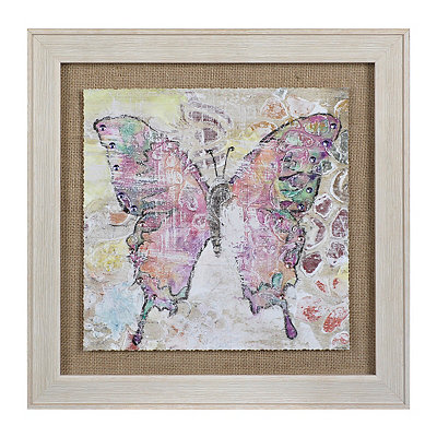 Purple Burlap Butterfly Framed Art Print