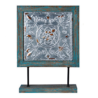 Rustic Blue Decorative Square Finial