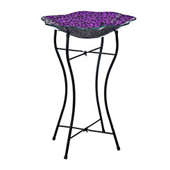 Purple Petals Mosaic Bird Bath