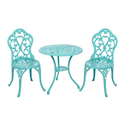 Turquoise Fleur-de-Lis Cast Iron Bistro, Set of 3