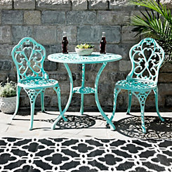 Turquoise Fleur-de-Lis Cast Iron Bistro Set
