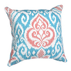Coral and Blue Ikat Pillow