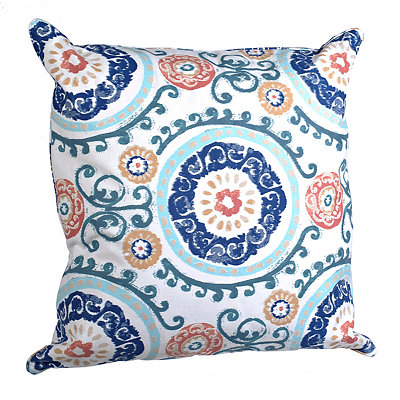 Blue Swirls Medallion Pillow