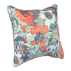 Orange and Blue Garden Pillow