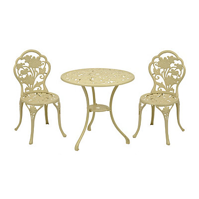 Ivory Floral Cast Iron Bistro, Set of 3