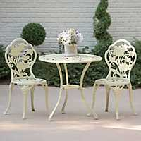 Ivory Floral Cast Iron Bistro Set