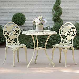 Ivory Floral Cast Iron Bistro Set