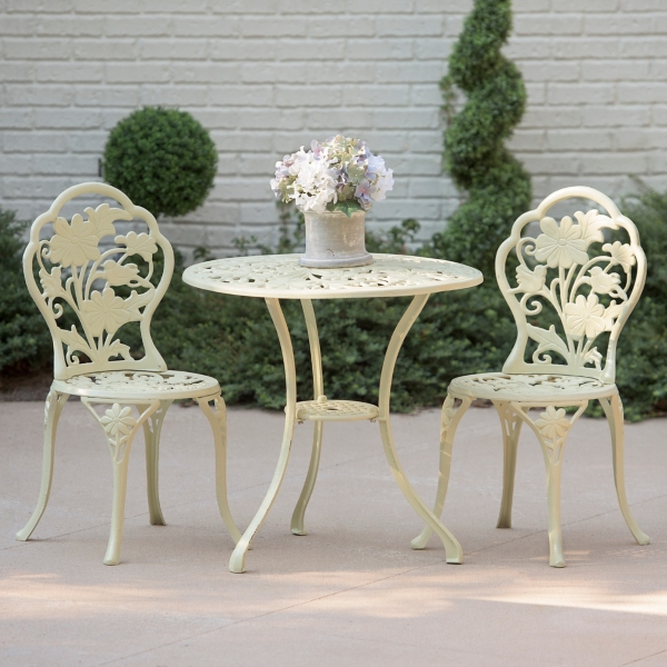 Ivory Floral Cast Iron Bistro Set ...