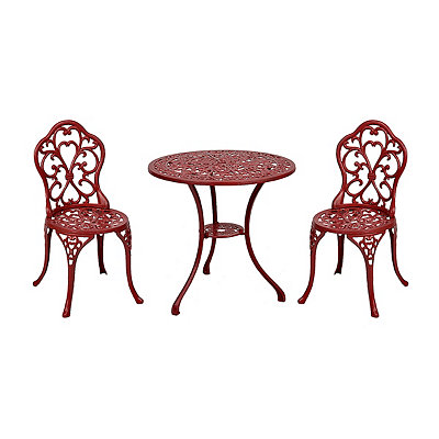 Red Fleur-de-Lis Cast Iron Bistro, Set of 3