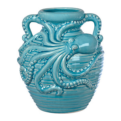 Blue Ceramic Octopus Vase