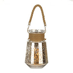 Silver Mercury Glass and Rope Lantern