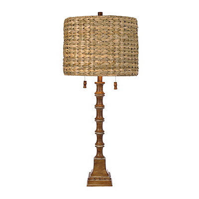 Natural Carved Bamboo Table Lamp