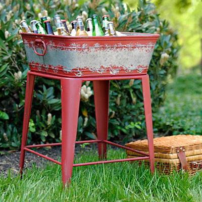 Distressed Red Beverage Tub
