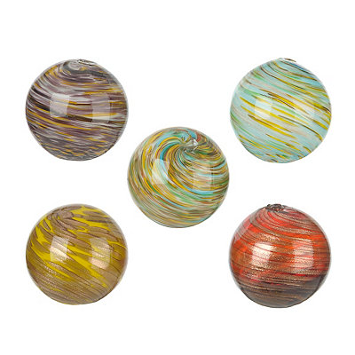 Glass Swirl Orbs, Set of 5