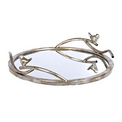Silver Birds Mirrored Decorative Tray