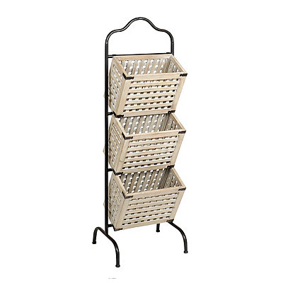 White 3-Tier Wood Crate Basket Tower