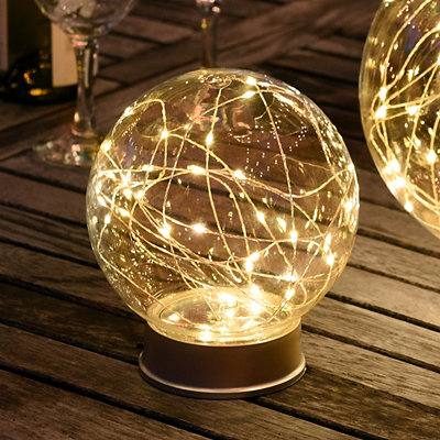Pre-Lit Clear Glass Orb, 6 in.