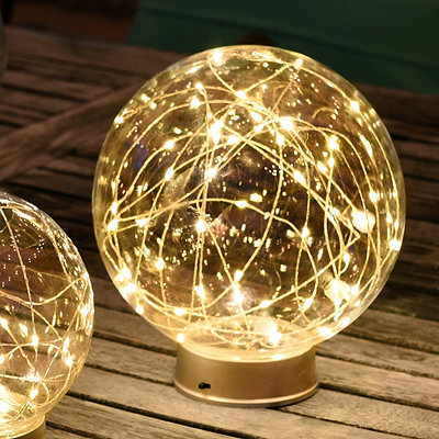 Pre-Lit Clear Glass Orb, 8 in.