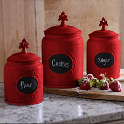 Red Scroll Canisters, Set of 3