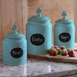 Turquoise Scroll Canisters, Set of 3