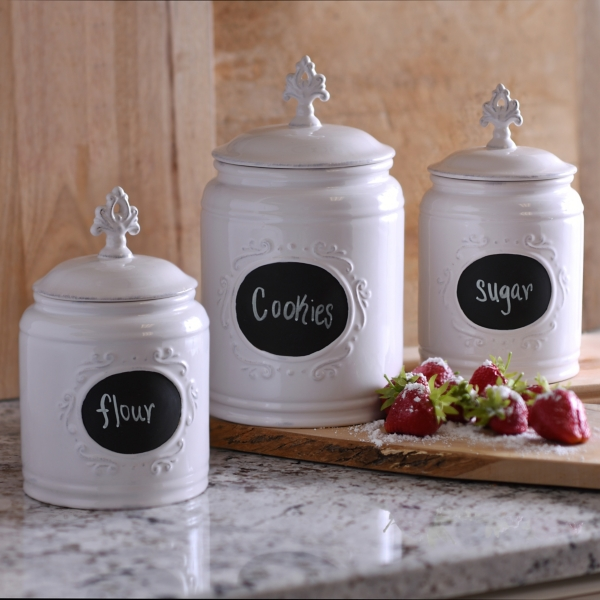 white scroll canisters set of 3