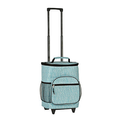 Turquoise and White Dots Rolling Cooler
