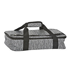 Black and White Petals Casserole Tote