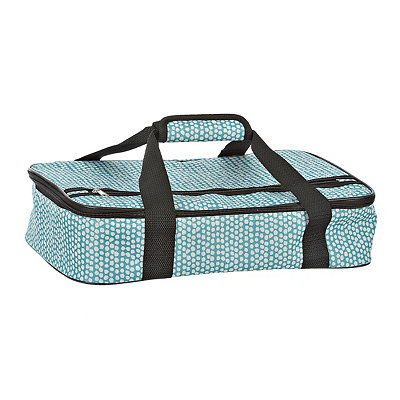 Turquoise and White Petals Casserole Tote