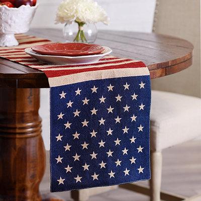 Stars and Stripes Burlap Table Runner