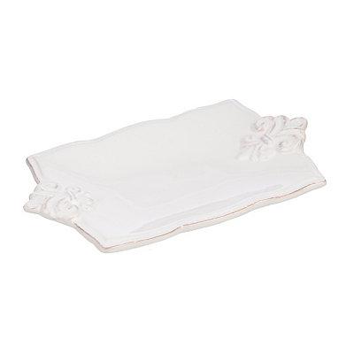 White Ceramic Fleur-de-lis Soap Dish