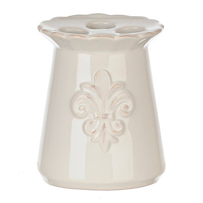 White Ceramic Fleur-de-lis Toothbrush Holder
