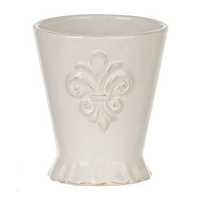 White Ceramic Fleur-de-lis Bathroom Tumbler