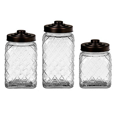 Bronze Lid Diamond Canisters, Set of 3