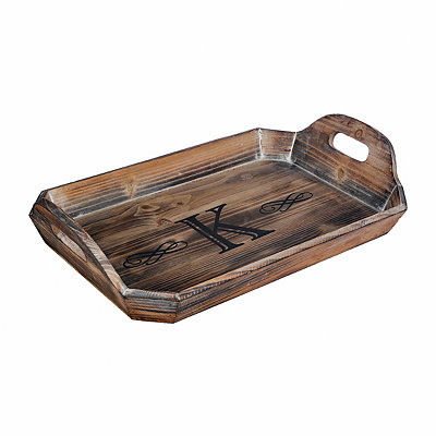 Distressed Wash Monogram K Wooden Tray