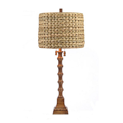 Brown Carved Bamboo Table Lamp