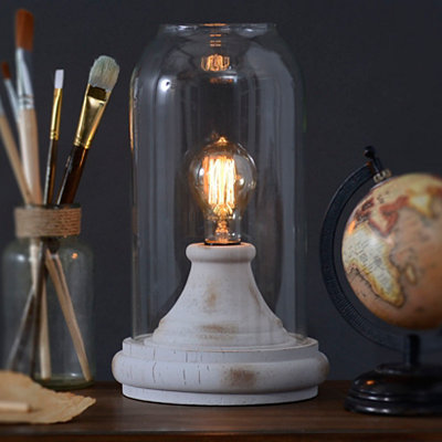 Distressed Cream Cloche Edison Lamp