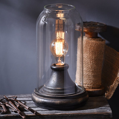 Distressed Black Cloche Edison Lamp